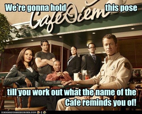 allison blake cafe cafe diem carpe diem cast Colin Ferguson eureka expectation henry deacon joe morton pose salli richardson-whitfiel salli richardson-whitfield sheriff jack carter