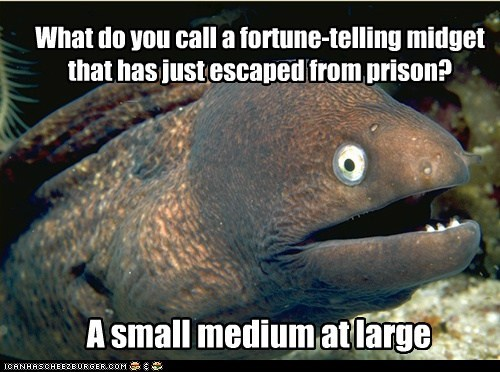 What do you call a fortune-telling midget that has just escaped from prison? A small medium at large