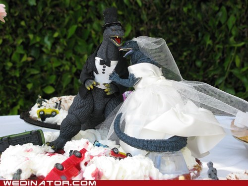 cake toppers,cakes,funny wedding photos,godzilla,wedding cakes