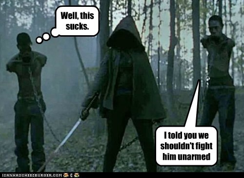 arms chained fight michonne pun this sucks unarmed The Walking Dead zombie - 6485503488