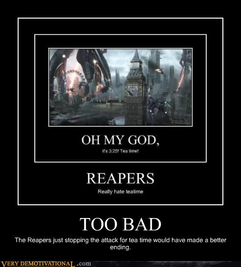 ending,hilarious,mass effect 3,reapers,tea time