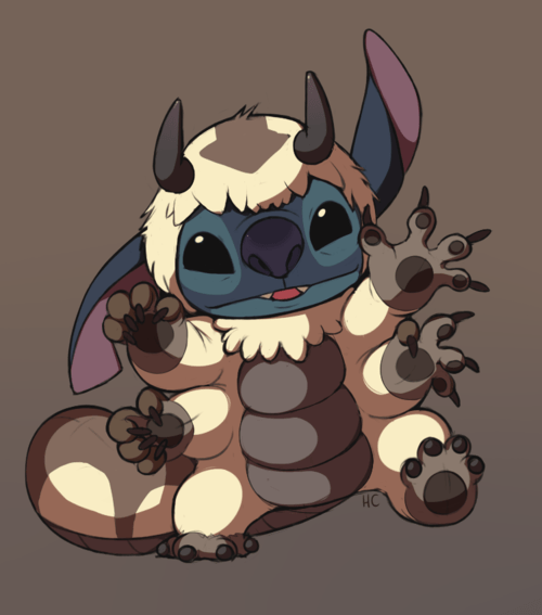 appa,Avatar the Last Airbender,avatar-the-last-airbende,crossover,Fan Art,fandom,lilo and stitch,stitch