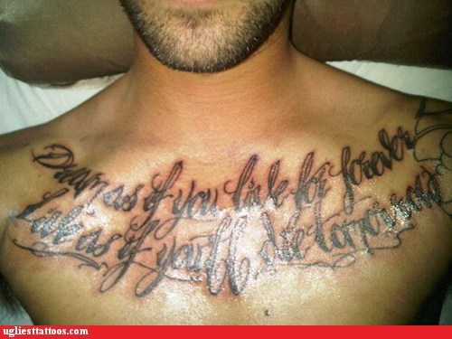 chest tattoos,forever,misspelled tattoos