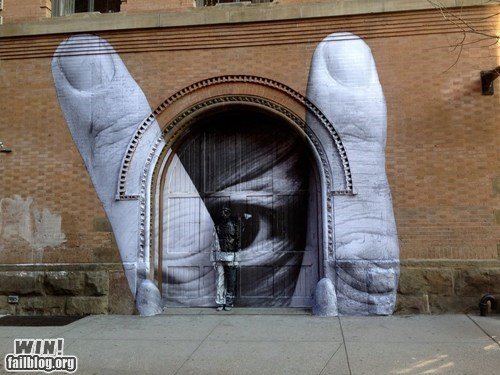 eye,finger,hacked irl,peeking,Street Art