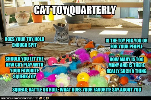 CAT TOY QUARTERLY DOES YOUR TOY HOLD ENOUGH SPIT SHOULD YOU LET THE NEW CAT PLAY WITH YOUR FAVORITE SQUEAK TOY HOW MANY IS TOO MANY AND IS THERE REALLY SUCH A THING IS THE TOY FOR YOU OR FOR YOUR PEOPLE SQUEAK, RATTLE OR ROLL: WHAT DOES YOUR FAVORITE SAY ABOUT YOU