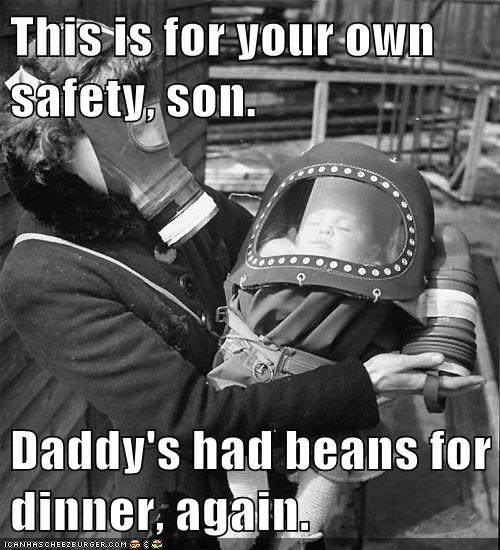 baby,dad,farts,gas mask,mom