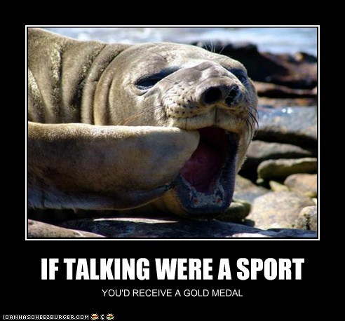 elephant seal gold medal loud mouth pointing sport talking