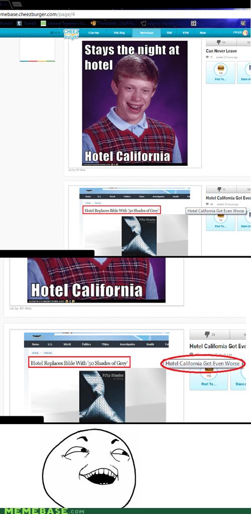 bad luck brian hotel california jokes - 6487374336