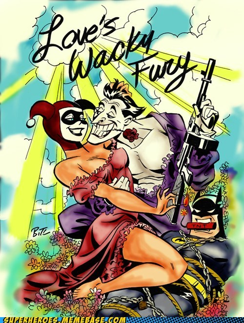 Awesome Art,batman,Harley Quinn,joker,love