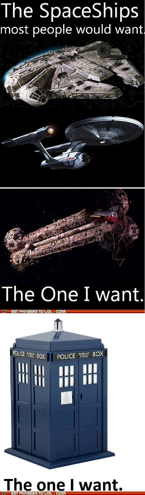 doctor who,enterprise,millennium falcon,mystery science theater,satellite of love,spaceships,Star Trek,star wars,tardis,want