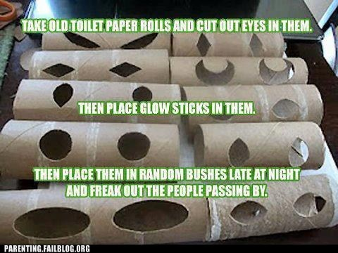 glow sticks,prank,toilet paper rolls