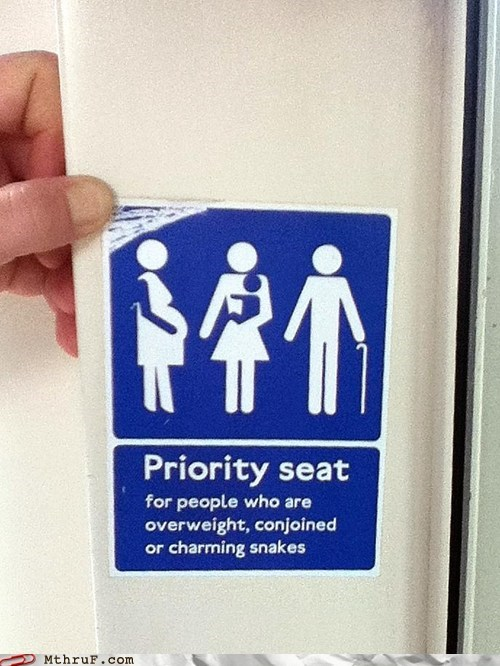 overweight priority seat snake charming - 6488088832