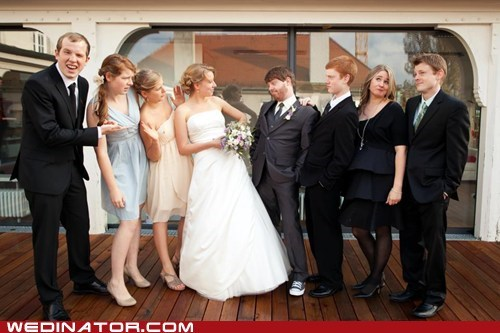 bride,bridesmaids,funny wedding photos,groom,Groomsmen,wedding part