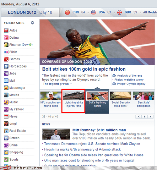 lightning strike,usain bolt,yahoo