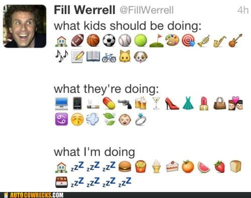emoticons kids these days Will Ferrell words