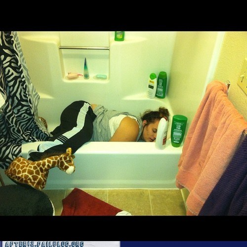 bathtub,giraffes,passed out,stuffed animal