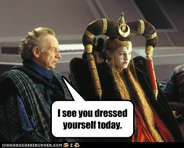clothes,dressing,Emperor Palpatine,Ian McDiarmid,natalie portman,padme,queen amidala,star wars,the phantom menace