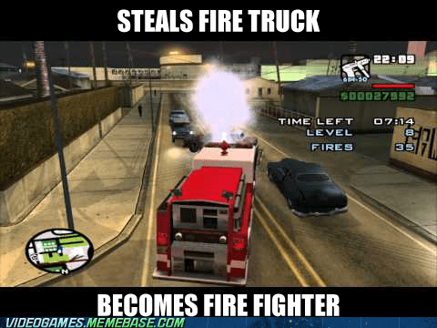 CJ,fire fighter,fire truck,Grand Theft Auto,meme,steal