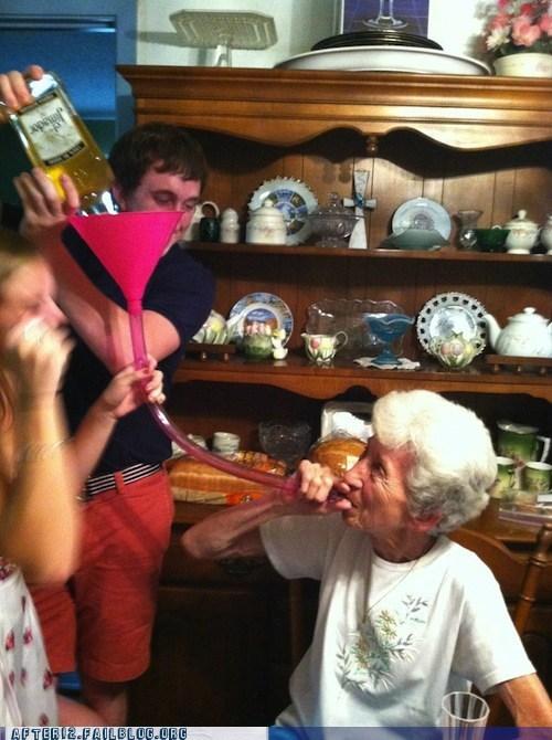 beer bong elderly grandma granny old
