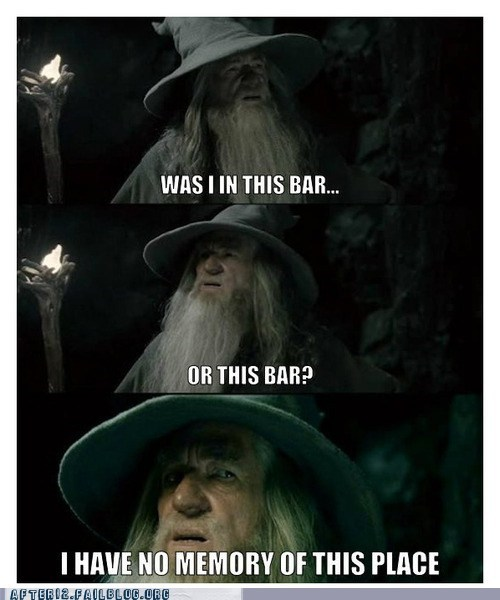 bars,gandalf,i have no memory of this,i have no memory of this place,Lord of the Rings