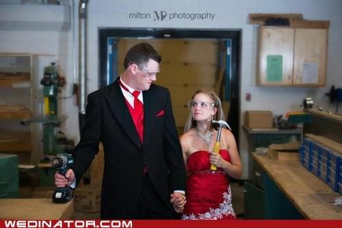 bride construction funny wedding photos groom tools - 6488923904