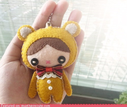 bear,costume,felt,handmade,Keychain,suit