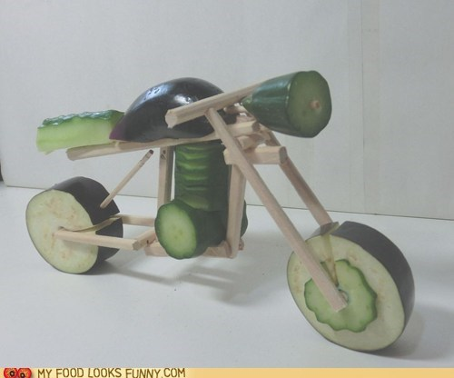 art cucumber motorcycle sculpture