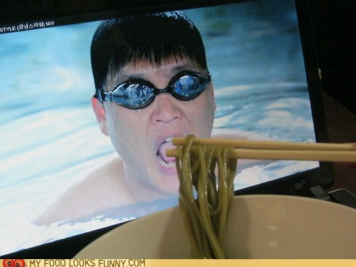 chopsticks,feed,noodles,screen,swimmer