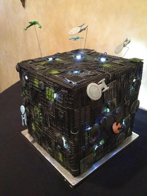 borg cube,Star Trek,wedding cake