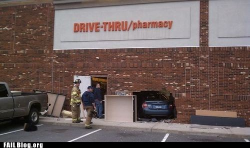 car accident,drive thru,pharmacy