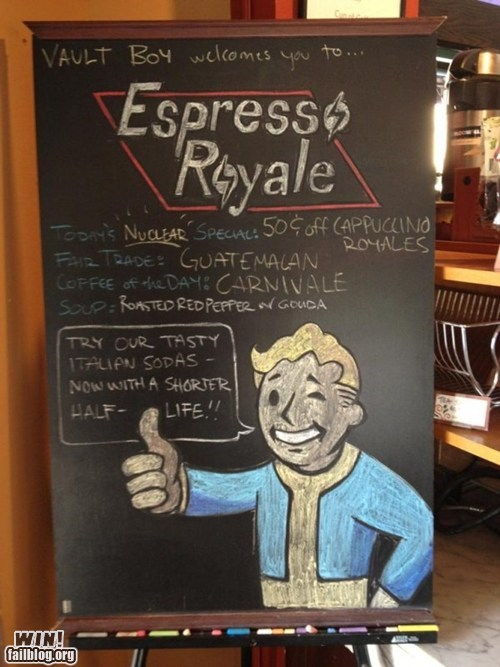 fallout,nerdgasm,restaurant,sign,video games