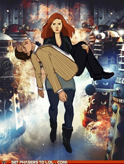amy pond,Badass,carrying,daleks,doctor who,explosions,Fan Art,karen gillan,Matt Smith,promo,role reversal,the doctor