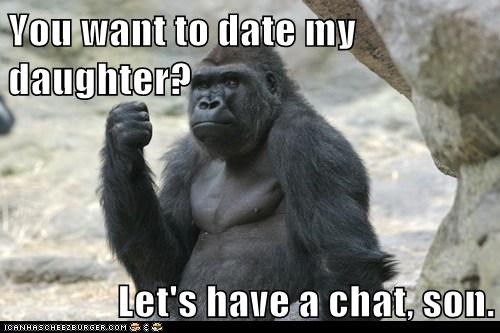chat,date,daughter,Father,fist,gorilla,protective,punch,threat