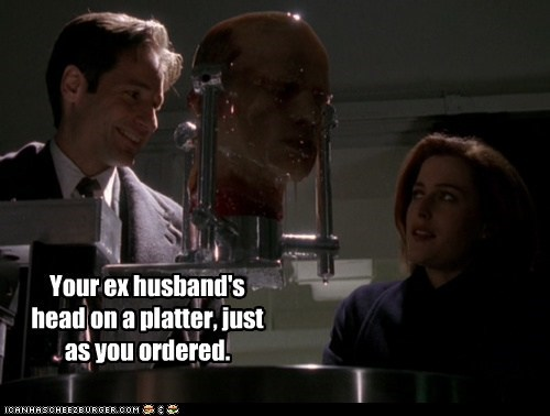 dana scully,David Duchovny,divorce,ex husband,fox mulder,gillian anderson,head,ordered,x files
