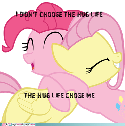 fluttershy hug life meme pinkie pie - 6489863168