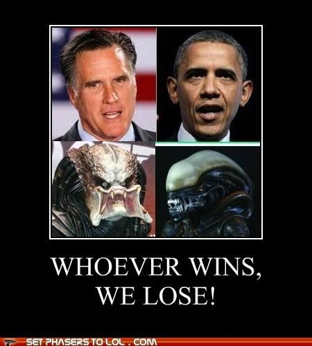 alien,barack obama,Mitt Romney,political pictures,Predator