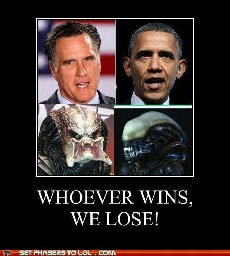 alien barack obama Mitt Romney political pictures Predator - 6489980672