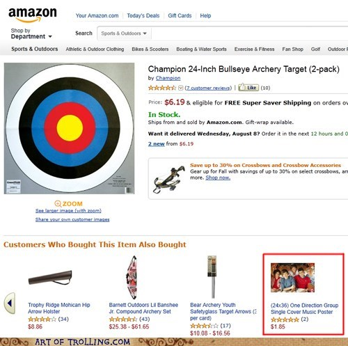 amazon,one direction,shoppers beware,target practice
