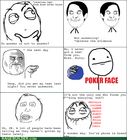 boss,i lied,poker face,Rage Comics,texting