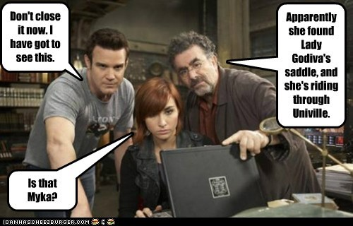 allison scagliotti,artie nielsen,artifacts,eddie mcclintock,lady godiva,laptop,myka berring,pete latimer,saddle,saul rubinek,warehouse 13