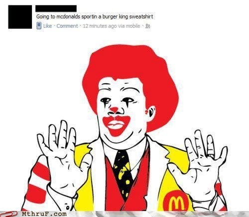 clown,McDonald's,ndt,Neil deGrasse Tyson,Ronald McDonald