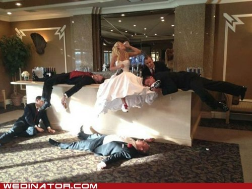 alcohol,bride,drinking,funny wedding photos,groom,Groomsmen,shots