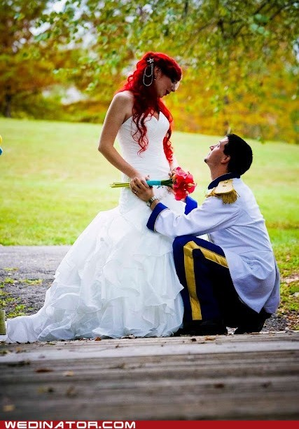 ariel cosplay disney funny wedding photos little mermaid - 6491470592