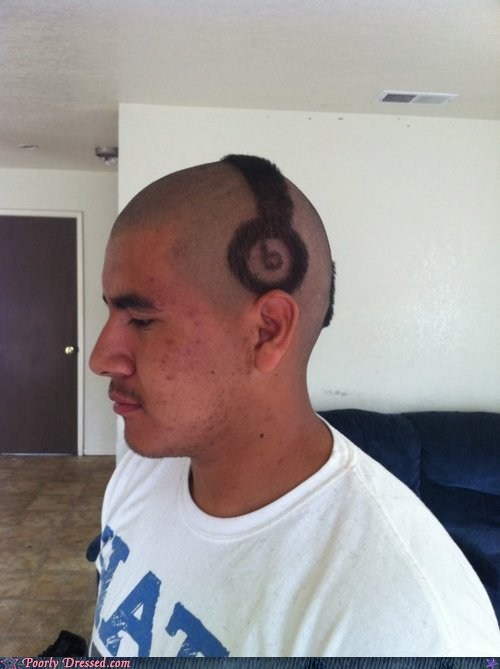 beats by dre,buzzcut,hair,haircut,headphones