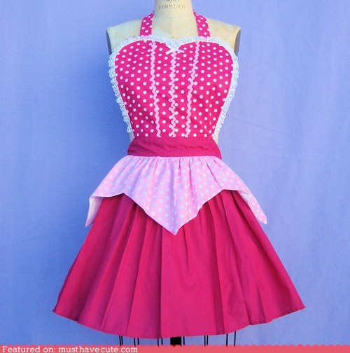 apron cooking ladylike pink polka dots sweet - 6491658752