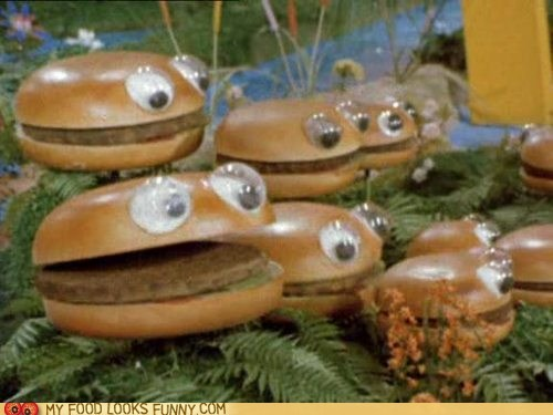 burger,faces,googly eyes,scary