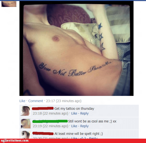 facebook g rated misspelled tattoos Ugliest Tattoos