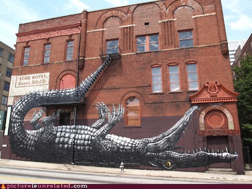 alligator crocodile painting Street Art wall