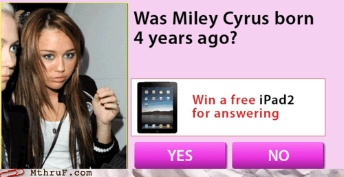 Ad cookies miley cyrus pop up swag yolo