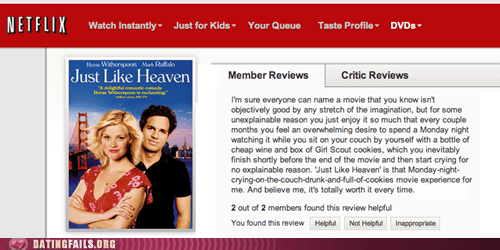 drew barrymore forever alone just like heaven movie reviews